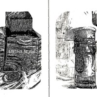 "<p><span>'encre noire' 4.25""by5.5"" notebook ink drawing. 2014. + <span>'gin bottle' 4.25""by5.5"" notebook ink drawing. 2015.</span></span></p>"