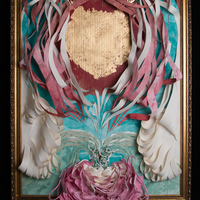 """<p style=""""text-align: center;"""">Heart of Gold</p> <p style=""""text-align: center;"""">ink, paper, frame, gold leaf   October 2014</p> <p style=""""text-align: center;"""">ambiguous size 36"""" x 26"""" x 8""""</p>"""