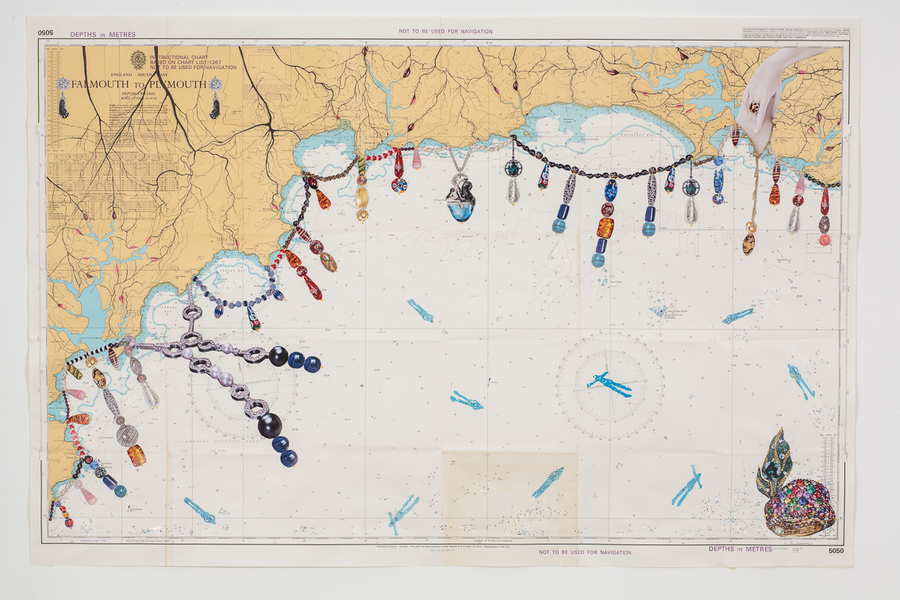 <p>D&eacute;irdre Kelly</p> <p>'From Mouth to Mouth'</p> <p>Collage on Nautical Chart</p> <p>110 x 70cm</p> <p>2016</p>
