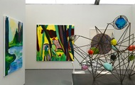 <p>Two paintings on the left at Untitled (Art Basel) Miami 2015 with Luis De Jesus Gallery: By Morning We Jumped Into The Crisp Water and Yelow Boa Canyon (Private Collection)</p>