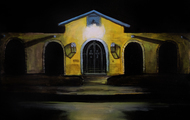 """<p><em>""""Yellow House at Night""""</em>, Oil on Panel, 2017, 9 x 12 in.</p>"""