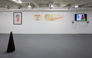"""<p style=""""text-align: center;"""">Black Mirror installed Charlie James Gallery</p>"""