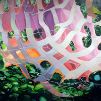 """<p><strong><em>Stereoscape,</em></strong><span>2013. Oil, acrylic, and spray paint on paper on panel, 22 x 60"""" (diptych)</span></p>"""