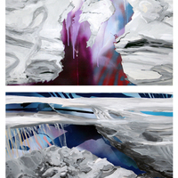 """<p><em><strong>Sand Strata,</strong></em><span>2011. Oil, acrylic, and spray paint on paper on panels, 44 x 30"""" (diptych)</span></p>"""