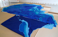 <p>Pacific Quilt, in progress, with parts 1, 2, and 3 ready to be hand-stitched together, (part 1 folded).&nbsp; 2017</p>