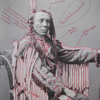 """<p>Title: Peelatchixaaliash / Old Crow (Raven)</p> <p><em>Artist-manipulated digitally reproduced photograph by C.M. </em></p> <p><em>(Charles Milton) Bell, National Anthropological Archives, Smithsonian Institution</em></p> <p>Medium: Pigment Print on Archival Photo-Paper</p> <p>Size: 24"""" x 16.45"""" with additional 1"""" border</p> <p>Date: 2014</p>"""
