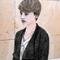 """<p style=""""text-align: center;"""">Ioana in herringbone jacket</p> <p style=""""text-align: center;"""">Acrylic, ink + graphite on panel. 24""""by20"""". 2016.</p>"""