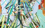 """<p><em>some sort of ascension</em>, 2018</p> <p>acrylic and plywood on panel</p> <p>60"""" x 48""""</p>"""