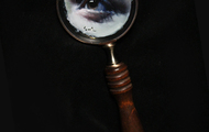 <p>Oil painting on magnifying glass</p>