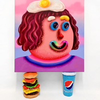 <p><em>Spice Gurl<br /></em>55 x 60 x 3.5cm resting on 19cm Burger and Poopsi Coke<br />Acrylic and airbrush on canvas<br />2018</p> <p>&nbsp;</p> <p>&nbsp;</p> <p>&nbsp;</p>