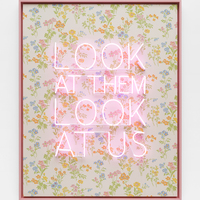 <p>Genevieve Gaignard<br /><em>Look At Them Look At Us (As We Shine Brighter Than They Ever Imagined), 2020&nbsp;</em><br />Neon, vintage wallpaper on Panel<br />62.5 x 50.5 x 3 inches</p>