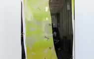 """<p style=""""text-align: center;""""><span><strong>&Iacute;S MIRЯOR - Neon Yellow Fluorite</strong>&nbsp;- 2020, 16""""x18""""x4""""<br /></span>2 Layers of Screenprint on paper and plexiglass.</p>"""
